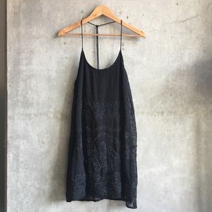 urban outfitters | beaded black babydoll dress